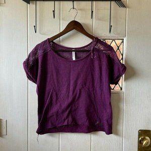 Aeropostale Womens Blouse Purple Short Sleeve Scoo